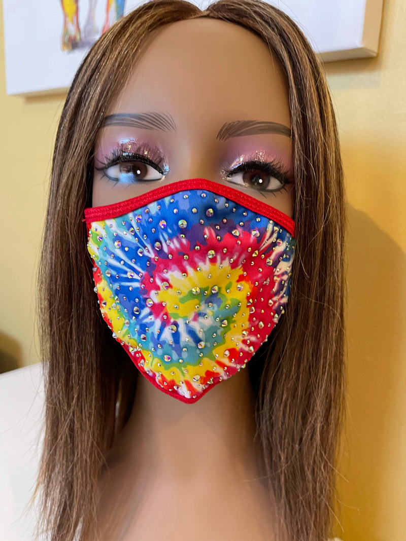 New Tie Dye AB Crystal Bling Face Mask Red
