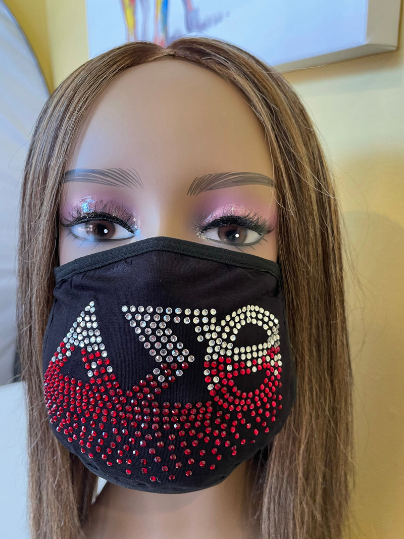 Delta Sigma Theta Red Roots Rhinestone Bling Face Mask Red