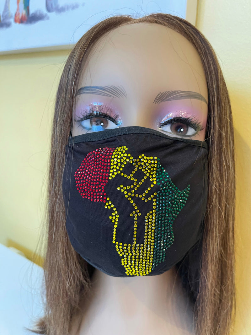 African Fist Bling Rhinestone Face Mask