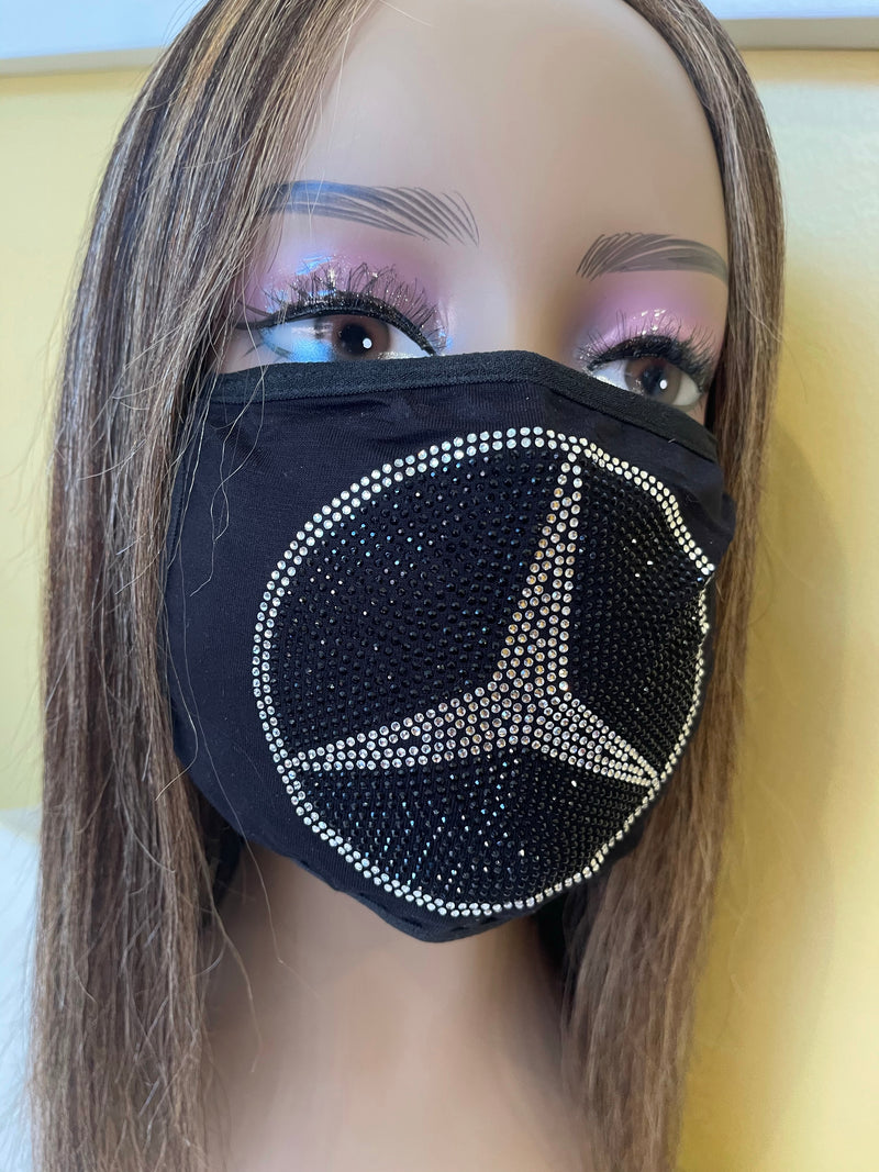 Mercedes Benz Rhinestone Bling Face Mask Washable Crystal