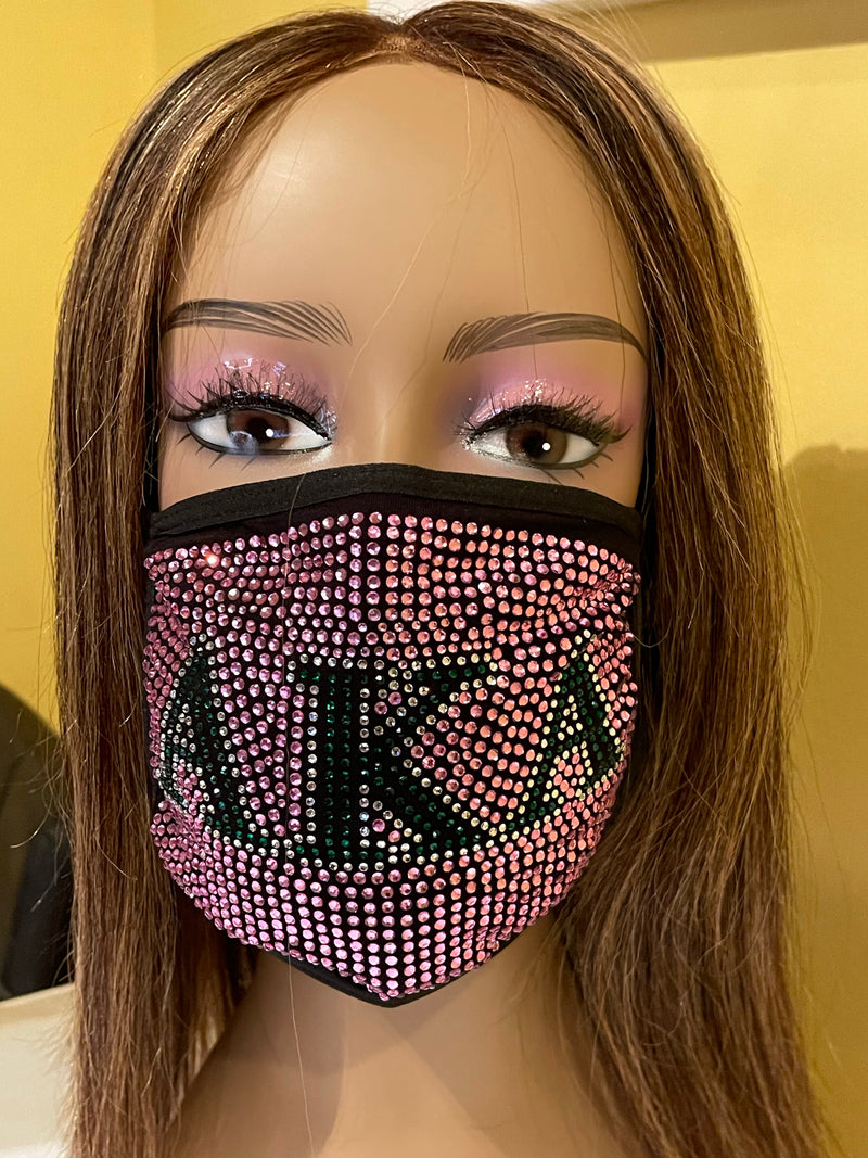 Alpha Kappa Alpha Full Rhinestone Bling Face Mask Pink | Simply For Us