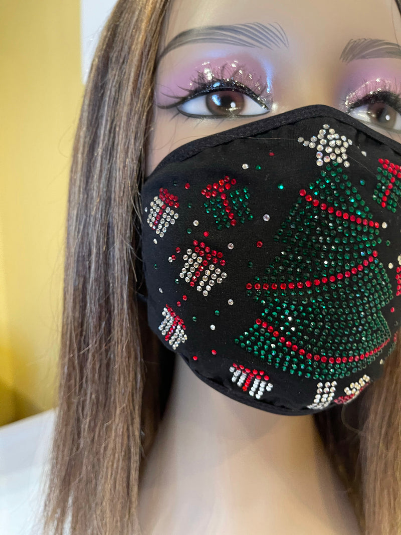 Christmas Tree Bling Face Mask