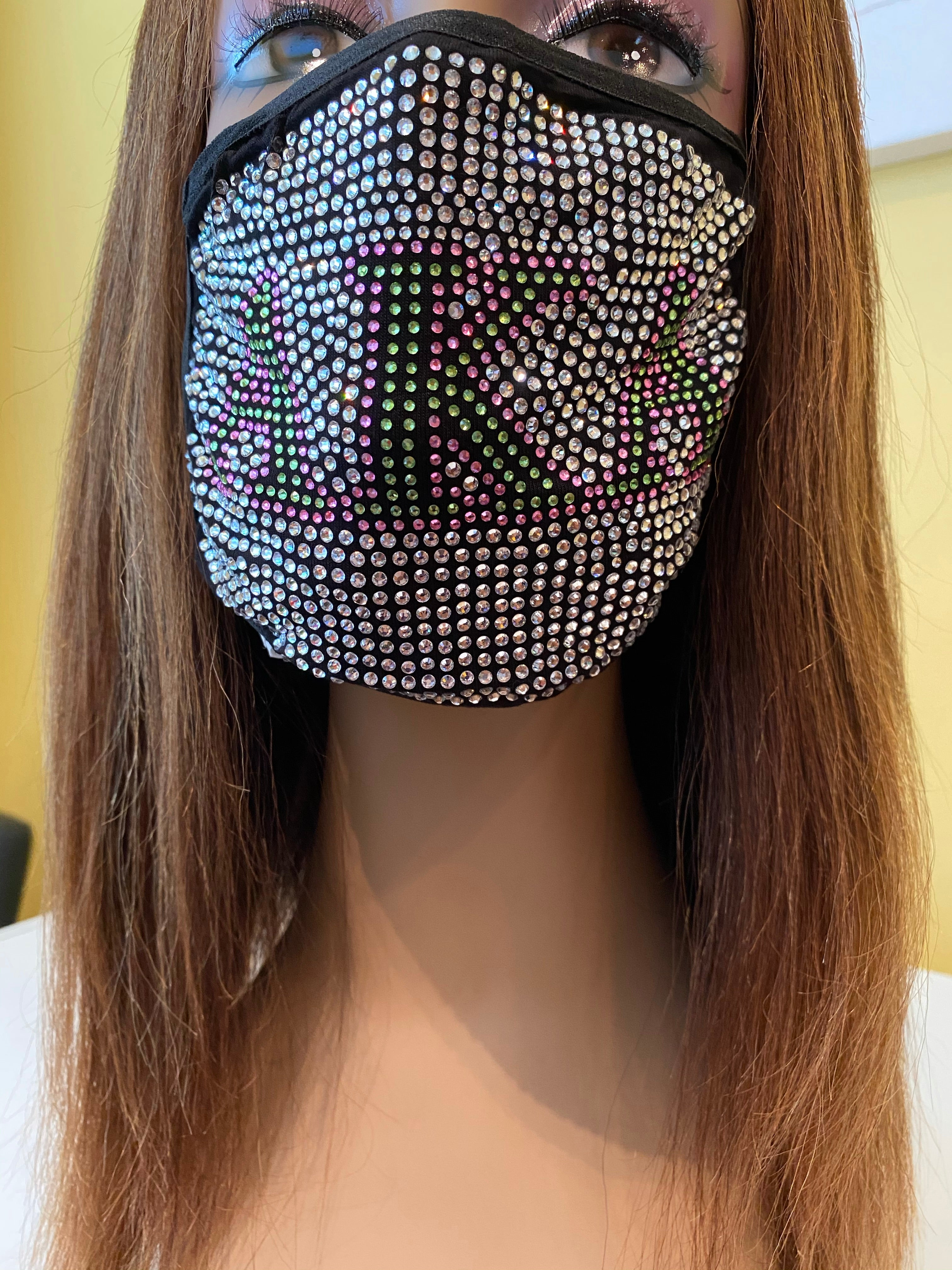 Alpha Kappa Alpha Full Rhinestone Bling Face Mask Clear | Simply For Us