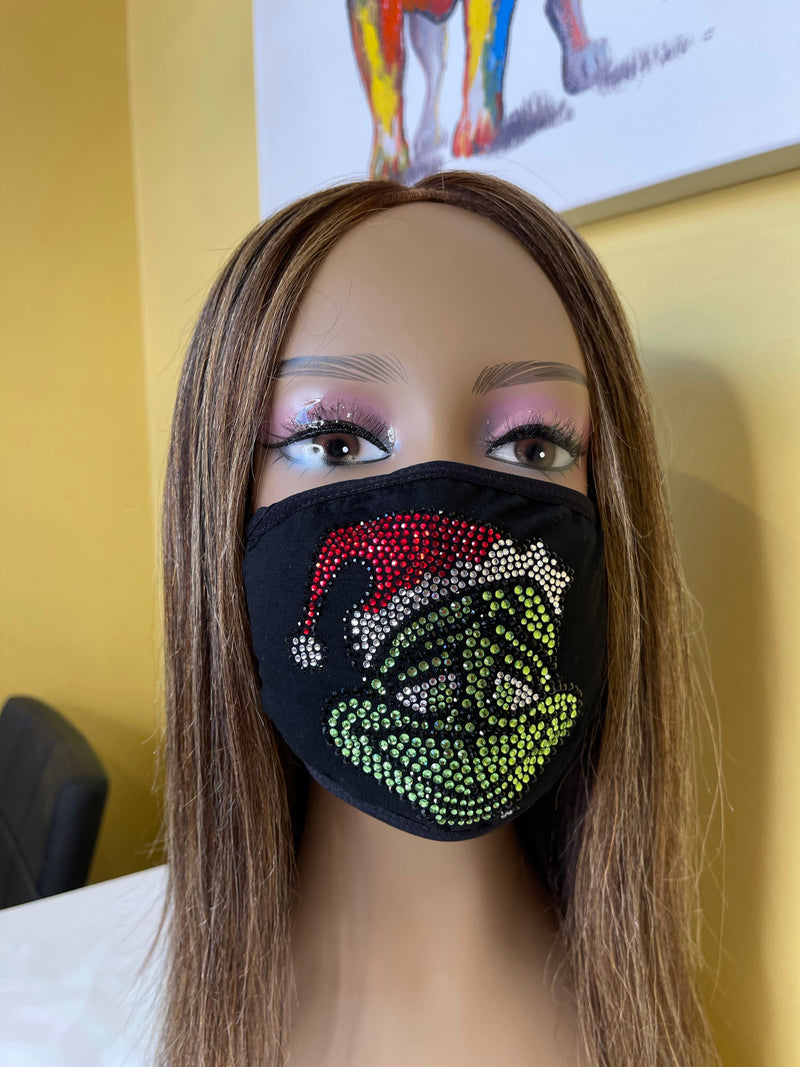 The Grinch Christmas Bling Face Mask