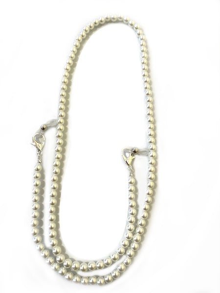 White Pearl Face Mask Lanyard Chain Holder