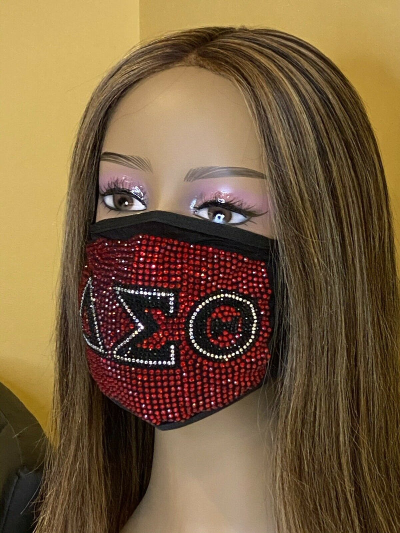Delta Sigma Theta Full Rhinestone Bling Face Mask Red