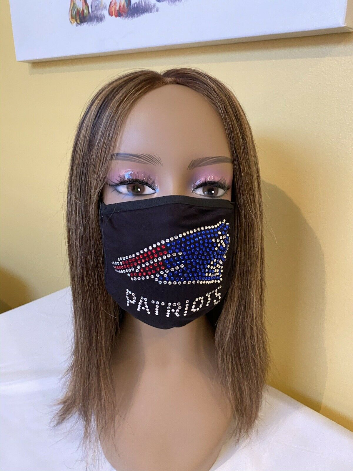 New England Patriots Rhinestone Bling Face Mask