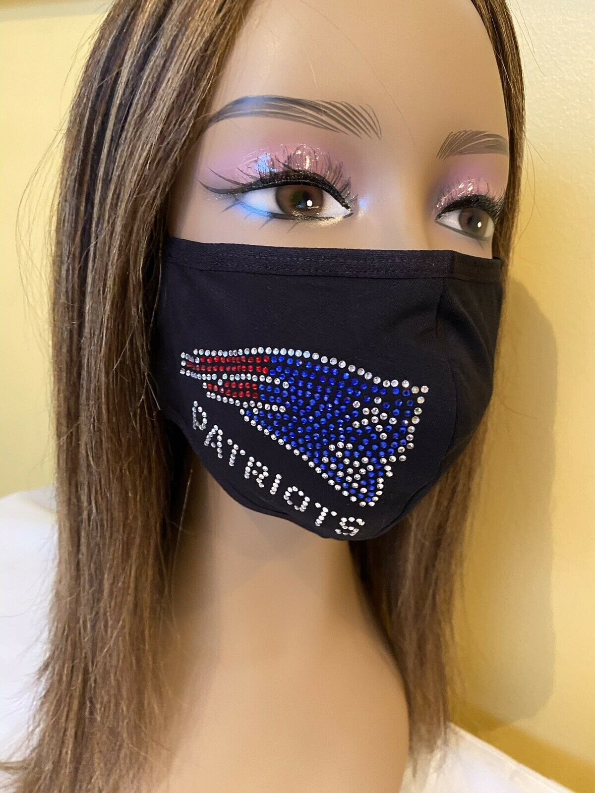 New England Patriots Rhinestone Bling Face Mask Side Logo