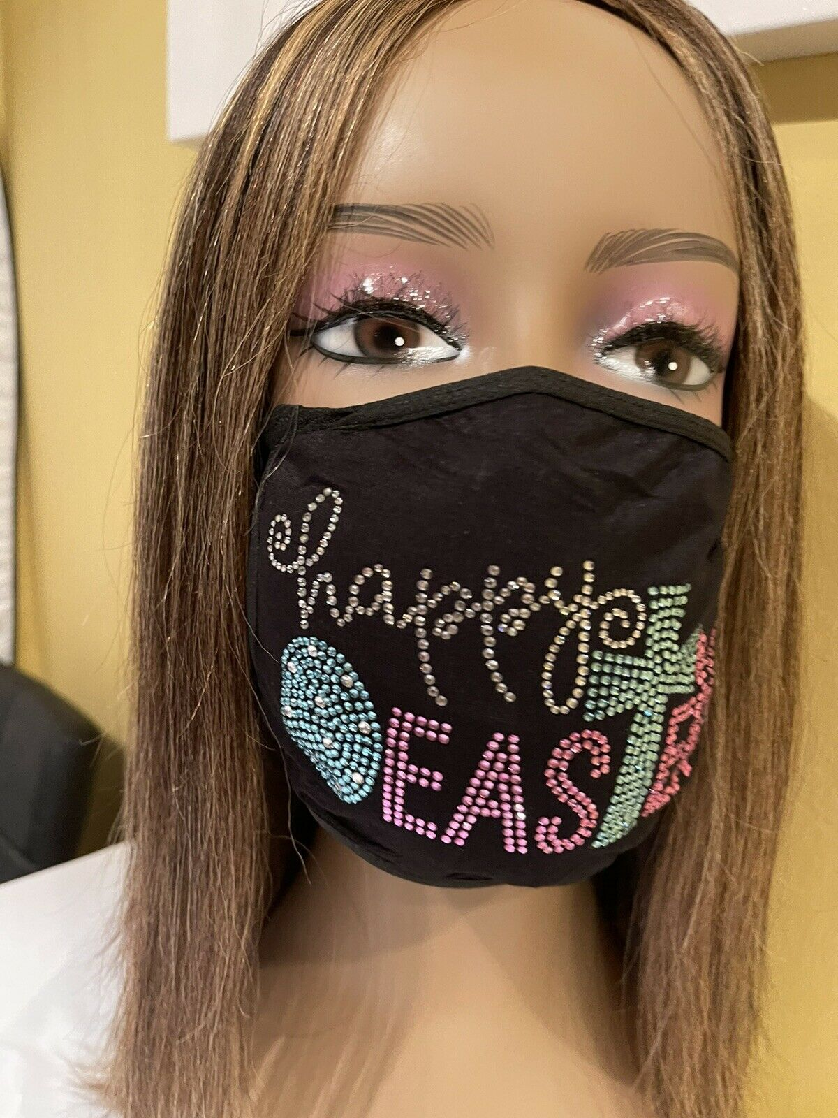 Happy Easter Rhinestone Bling Cross Face Mask