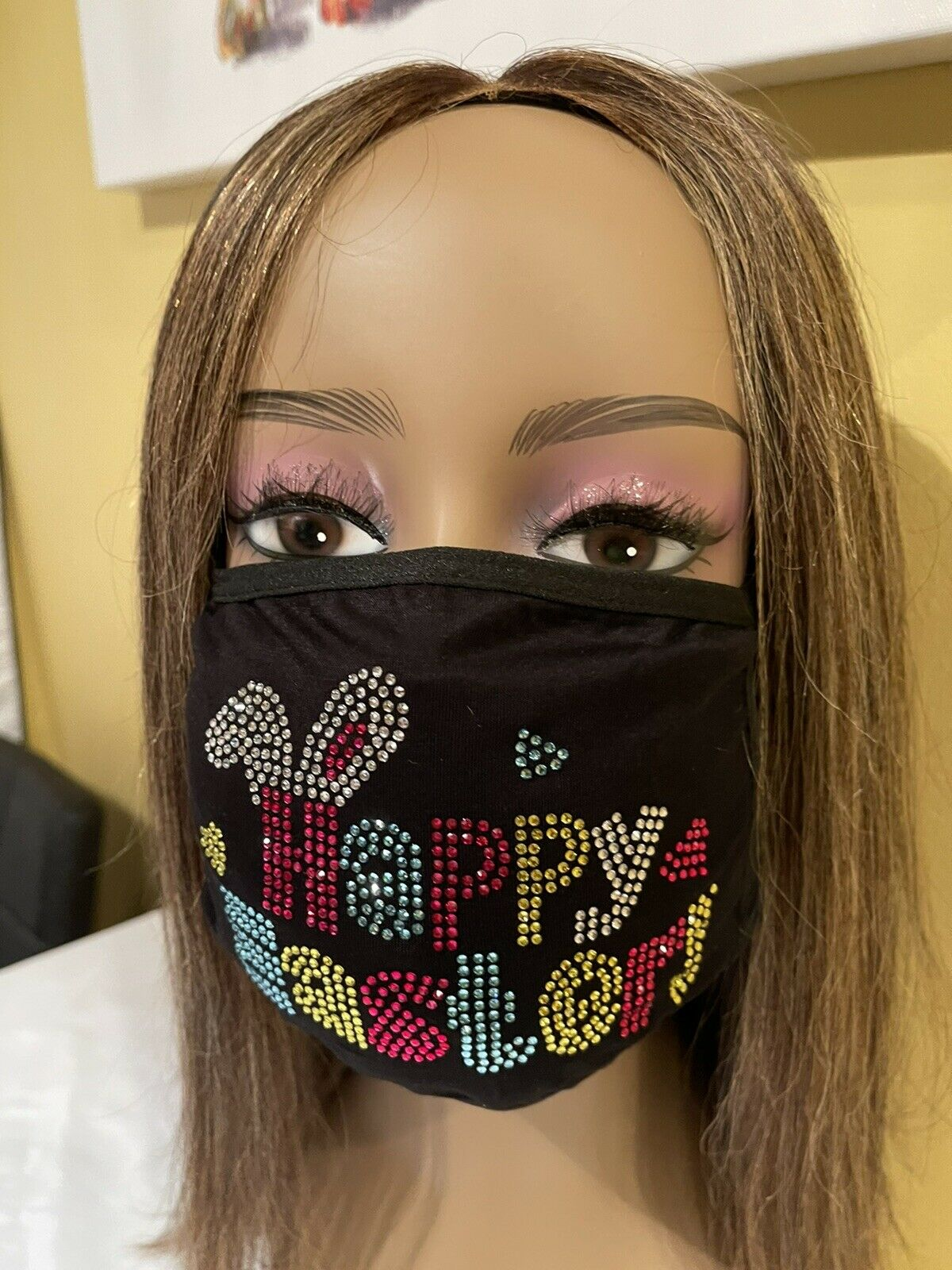 Happy Easter Rhinestone Easter Bunny Face Mask