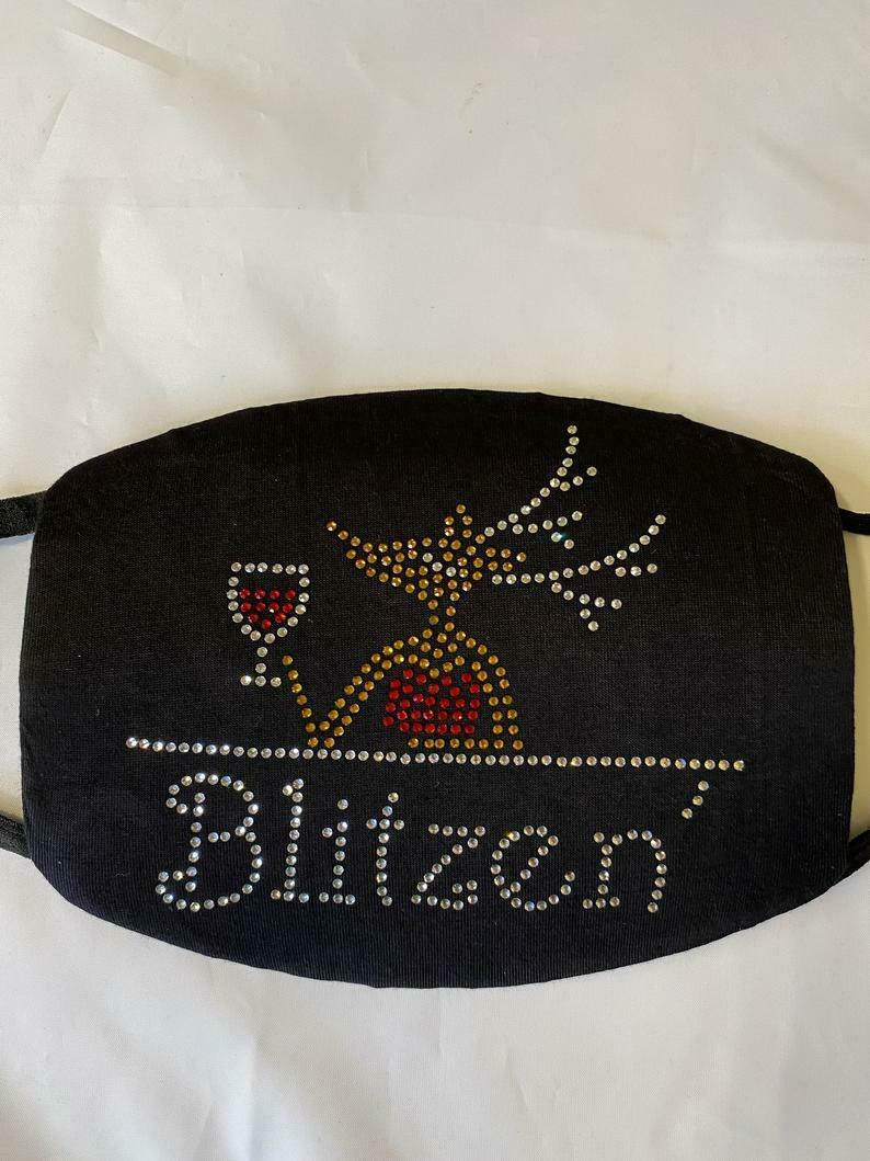 Funny Christmas Bling Face Mask Blitzen