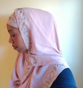 One piece hijab with a paisley design silver stone embroidery