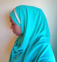 Load image into Gallery viewer, One piece hijab with a single band of silver stone embroidery