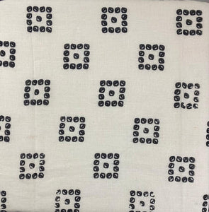 Cotton White with Black Print