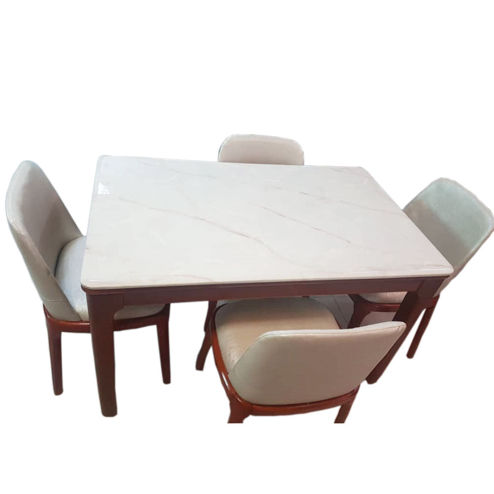 Nina 4 Seaters White Marble Dining Set