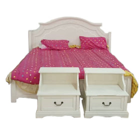 Raul 6 by 6 White Bed + 2 Bedside
