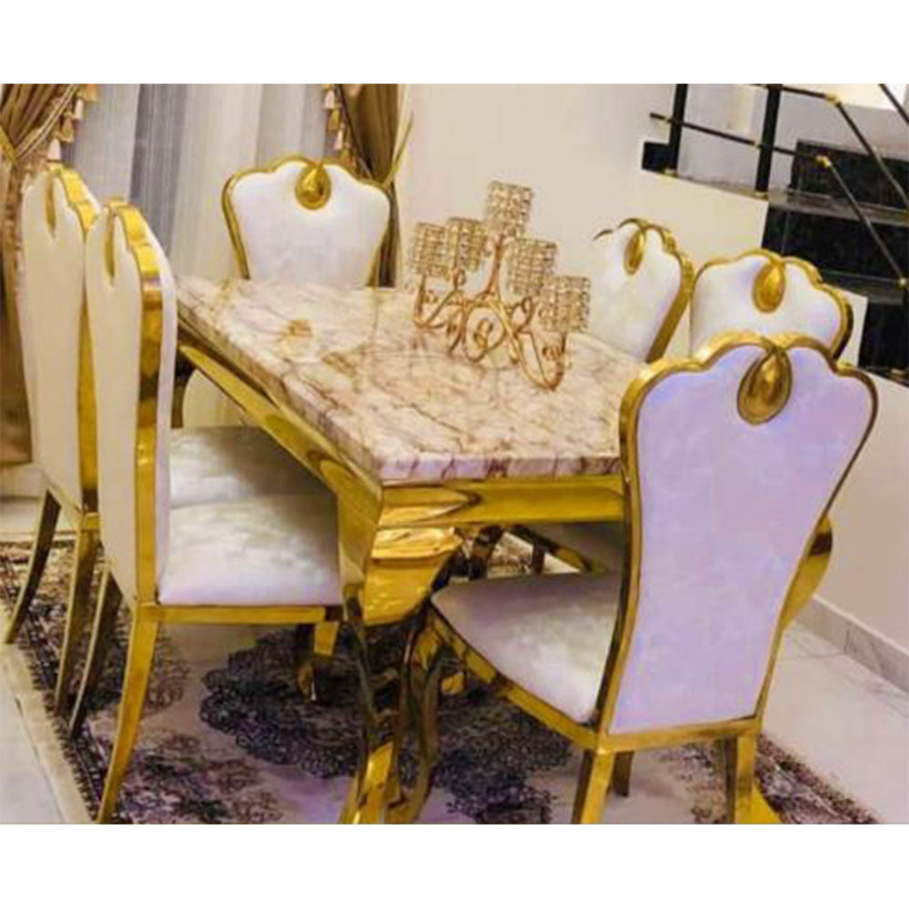 Belita 6  Seaters Brown Marble Dining Set