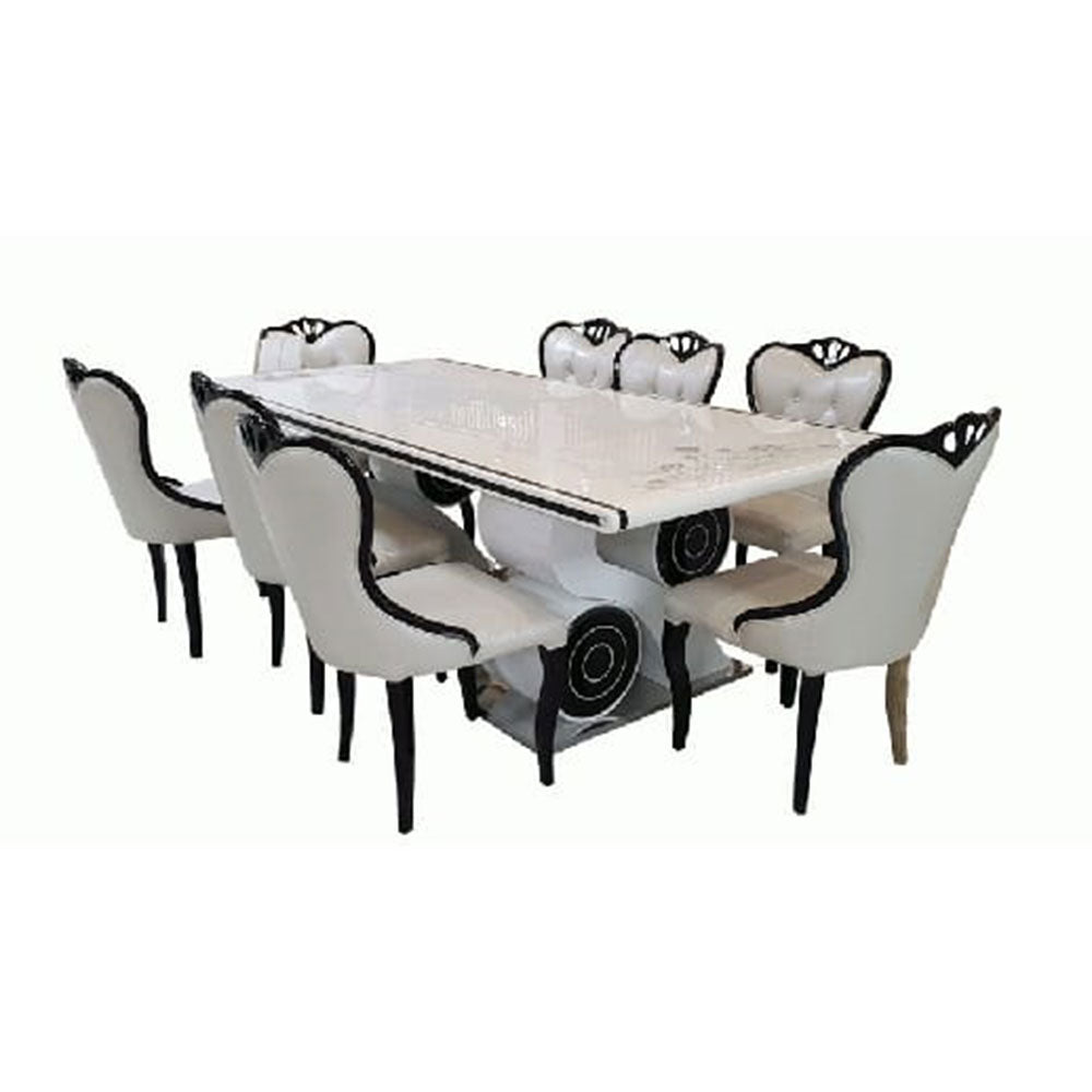 Azure 8 Seaters White Marble Dining Set - Domestico Furniture