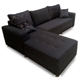 Roco Black Fabric Sectional Sofa Set | 9ft