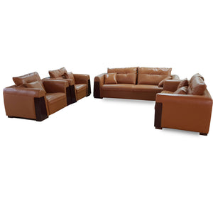 Belen 7 seater Brown leather Sofa Set