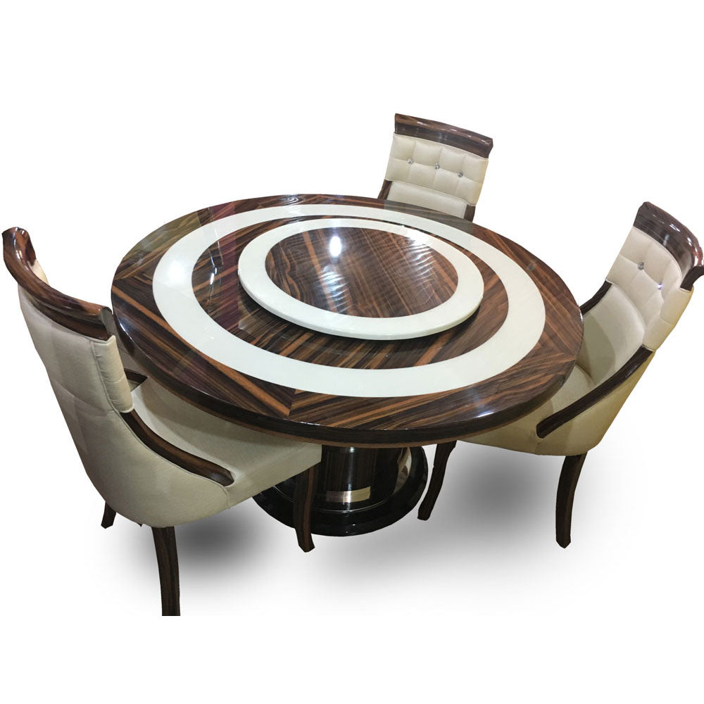 Carlito Round 6 Seaters Marble Dining Set
