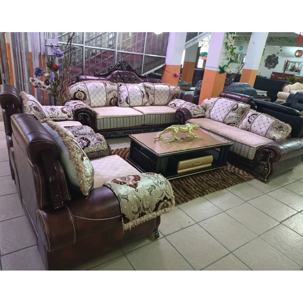 Frazer 7 Seater Royal Fabric leather Sofa Set - Domestico Furniture