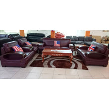Load image into Gallery viewer, Cruz 7 seater Wine Italian leather Sofa Set