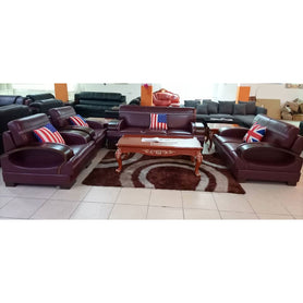 Cruz 7 seater Wine Italian leather Sofa Set - Domestico Furniture