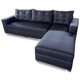 Manny Black Leather Sectional Sofa Set