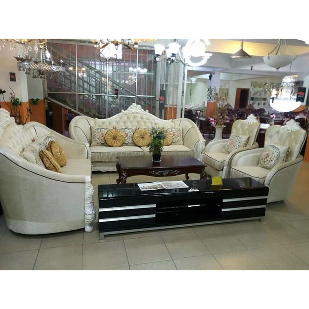 Mariano 7 Seater Biege Royal Fabric Sofa Set - Domestico Furniture