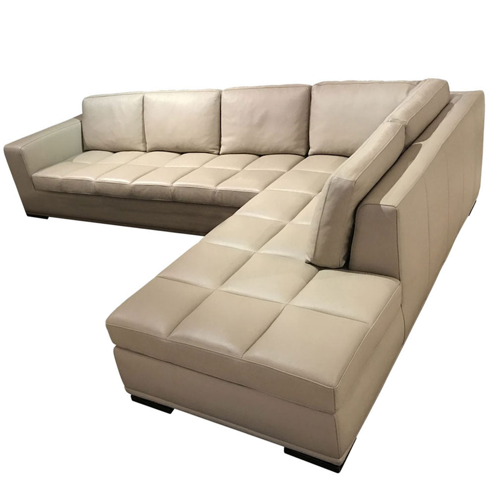 Marvel Beige Leather Sectional Sofa Set - Domestico Furniture