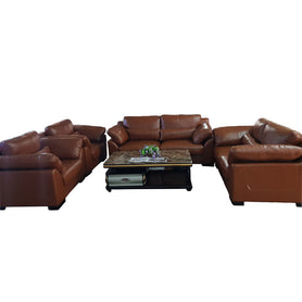 Diego 7 seater Brown Italian leather Sofa Set - Domestico Furniture