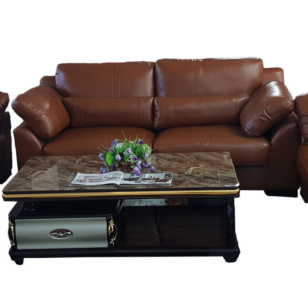 Diego 7 seater Brown Italian leather Sofa Set