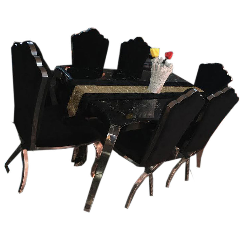 Marivel 6  Seaters Black Marble Dining Set