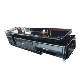 Salem  Black Glass TV Stand | 6ft - Domestico Furniture