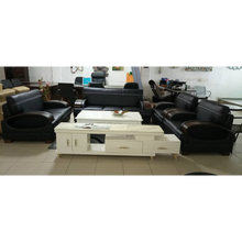 Load image into Gallery viewer, Cruz 7 seater Black Italian leather Sofa Set