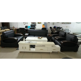 Cruz 7 seater Black Italian leather Sofa Set