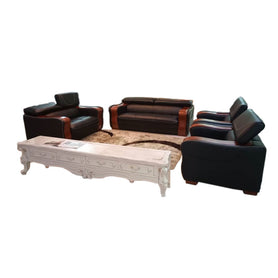 Lola 7 seater Black Italian leather Sofa Set - Domestico Furniture