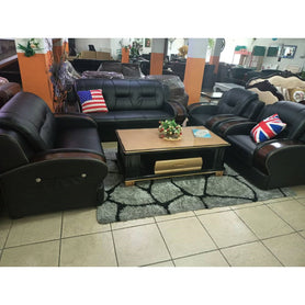 Dante 7 seater Black leather Sofa Set - Domestico Furniture