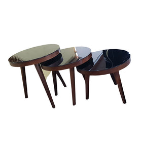 Tilly 3 in 1 Brown Nested Stool - Domestico Furniture