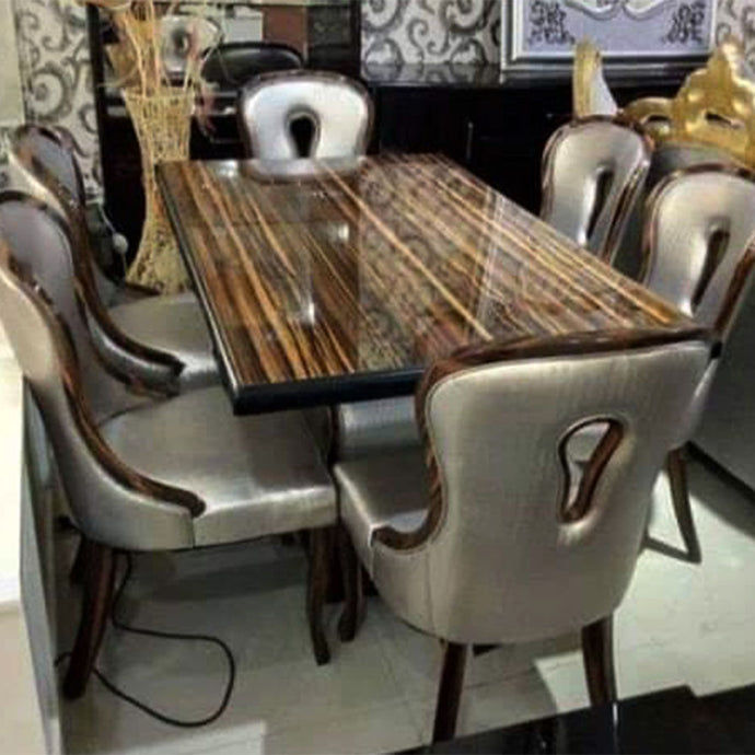 Chavez 6 Seaters Brown Marble Dining Set