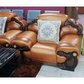 Mila 7 seater Brown Italian leather Sofa Set - Domestico Furniture