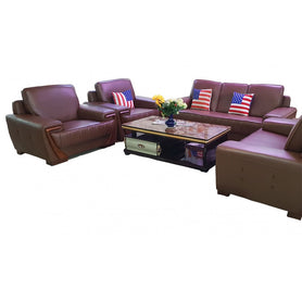 Pedro 7 seater Brown leather Sofa Set - Domestico Furniture