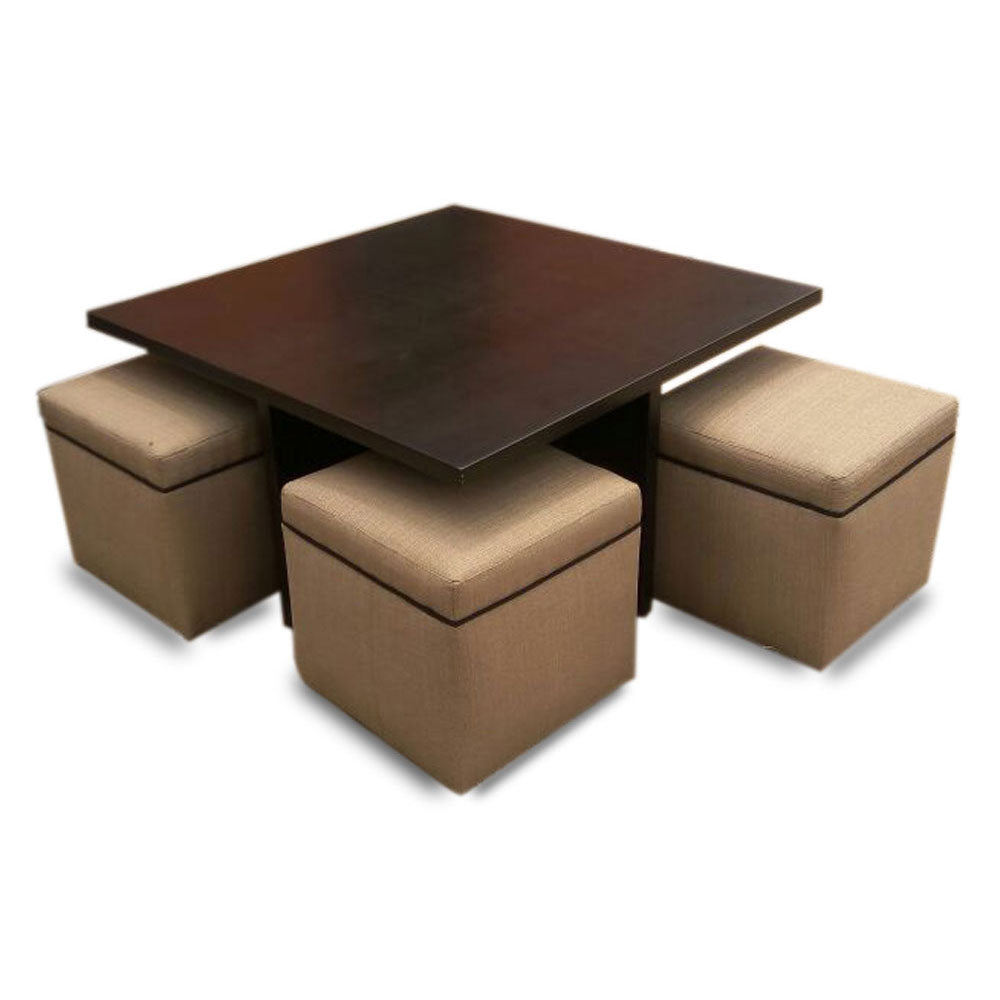 Inez Brown Center Table with 4 ottoman - Domestico Furniture