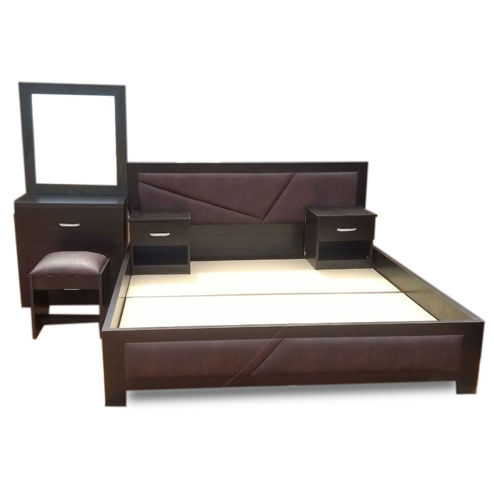 Bidal Brown Bed with Option of Bedsides - Domestico Furniture