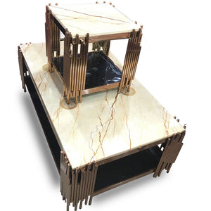 Dama White Marble Center table + 2 Side Stools - Domestico Furniture