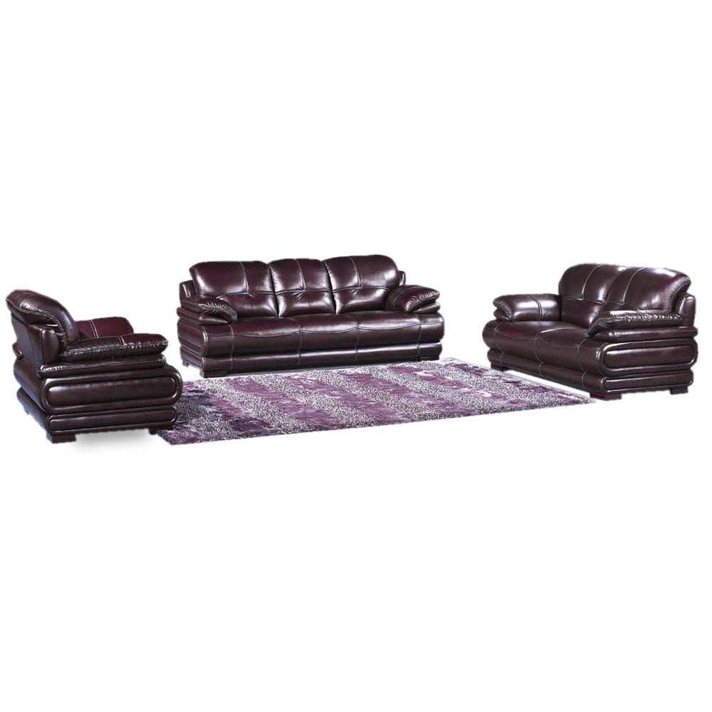 Nina 7 seater Wine Italian leather Sofa Set - Domestico Furniture