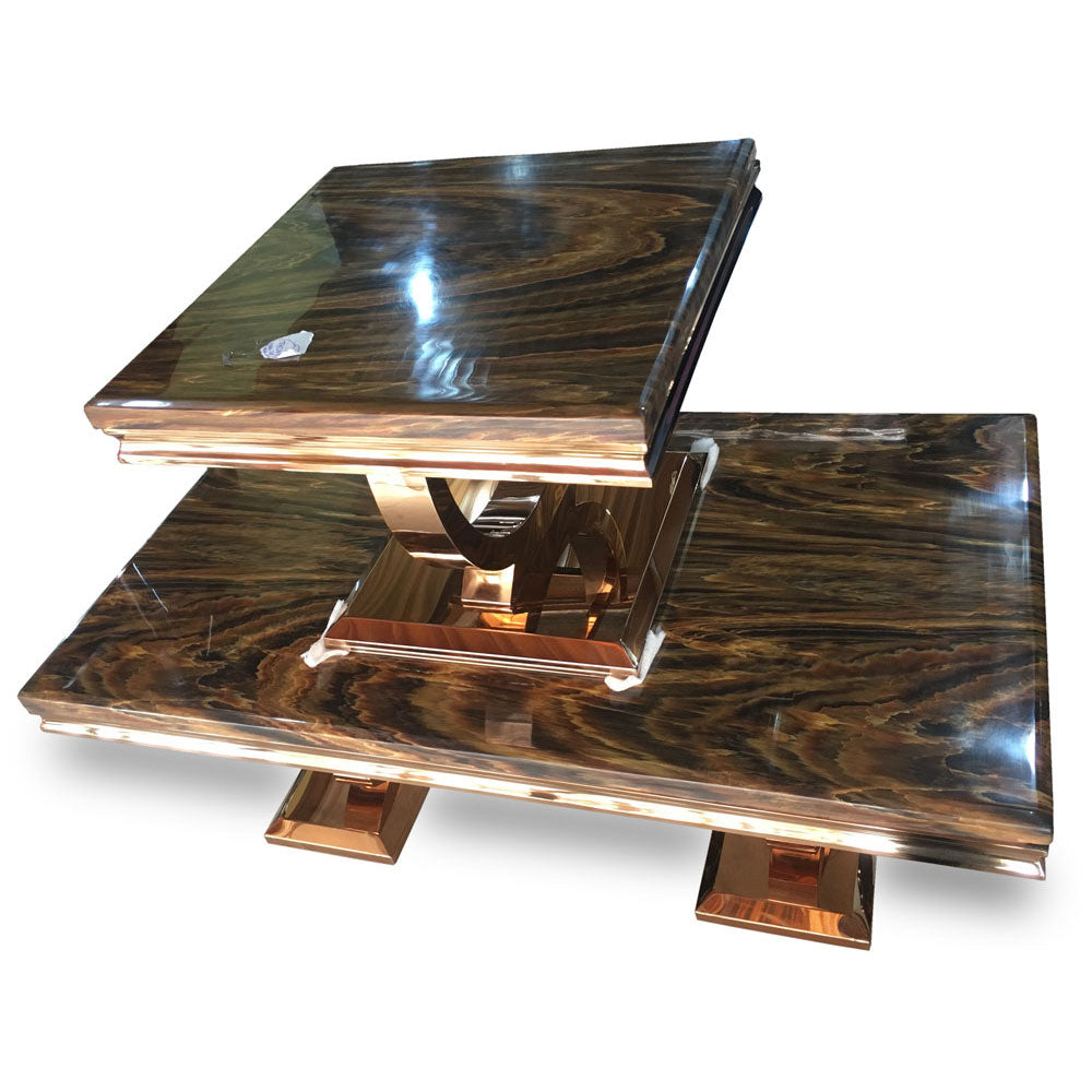 Dama Marble Center table + 2 Side Stools