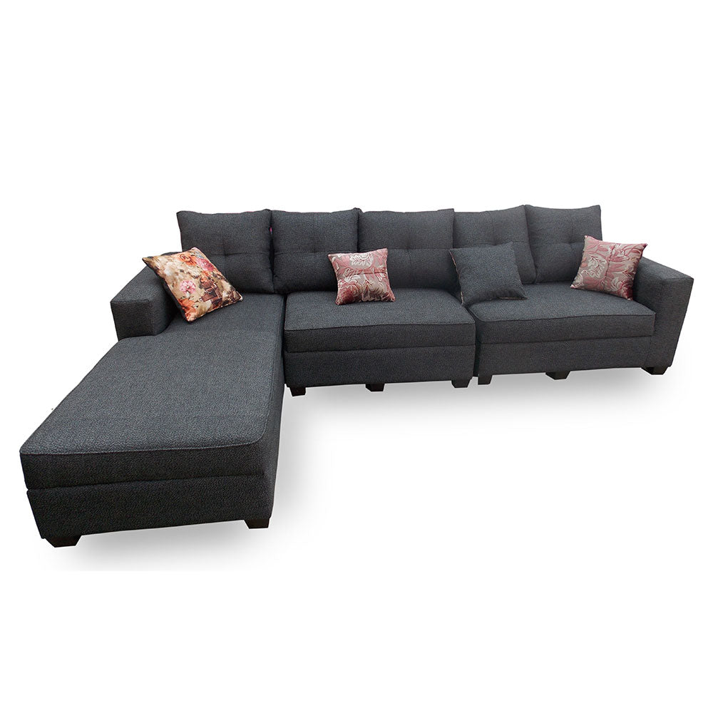 Maricela Grey Fabric Sectional Sofa Set | 10ft