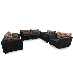 Vida 7 Seater Grey Fabric Sofa Set - Domestico Furniture